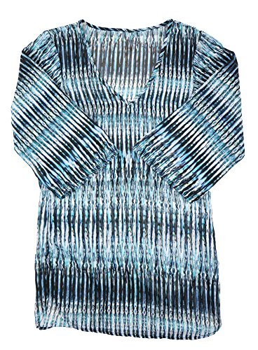 Price comparison product image Bar III Womens Sheer Printed Blouse Blue S