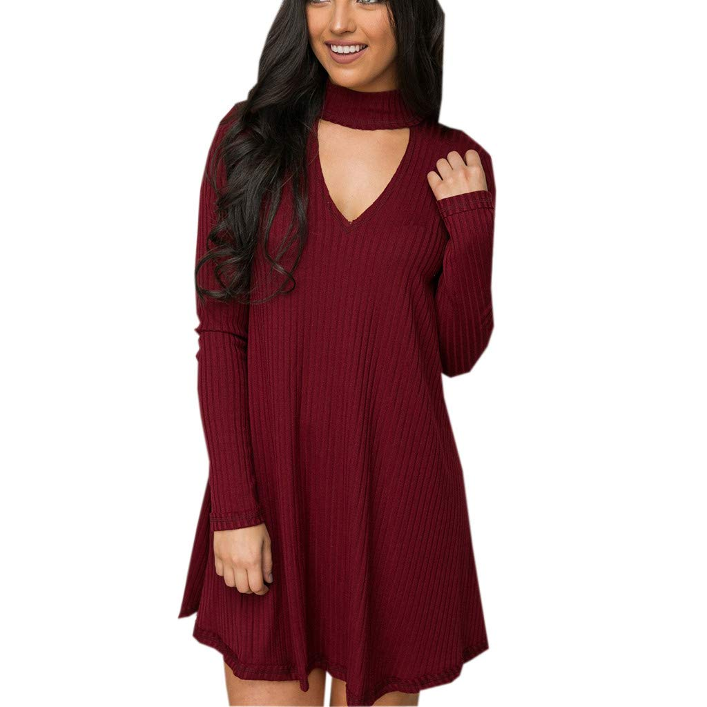 NUWFOR Fashion Women Long Sleeve V Neck Hollow Out Vintage Evening Party DressFashion(Wine,US:6/CN:L)