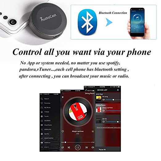 Anewish Wireless Bluetooth Audio Receiver Bluetooth 4 2 Transmitter for  Home/Car Stere System Car Receiver Music,Spotify,  Pandora,Speaker,Headphone,