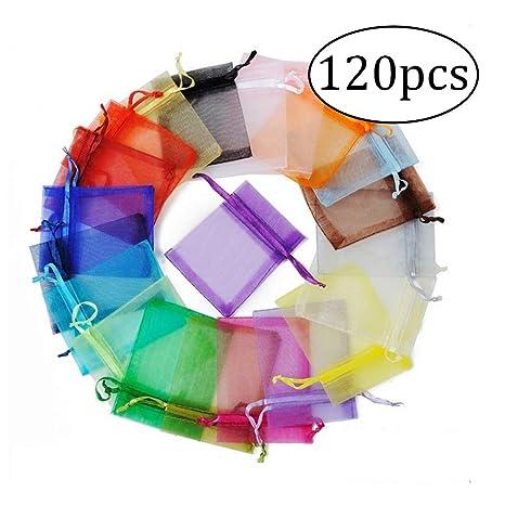 ZYCX123 120 PCS Material Organza con cordón Bolsas Daily Materia organizadores de la joyería del Partido de los Bolsos del Regalo del Favor del Boda ...