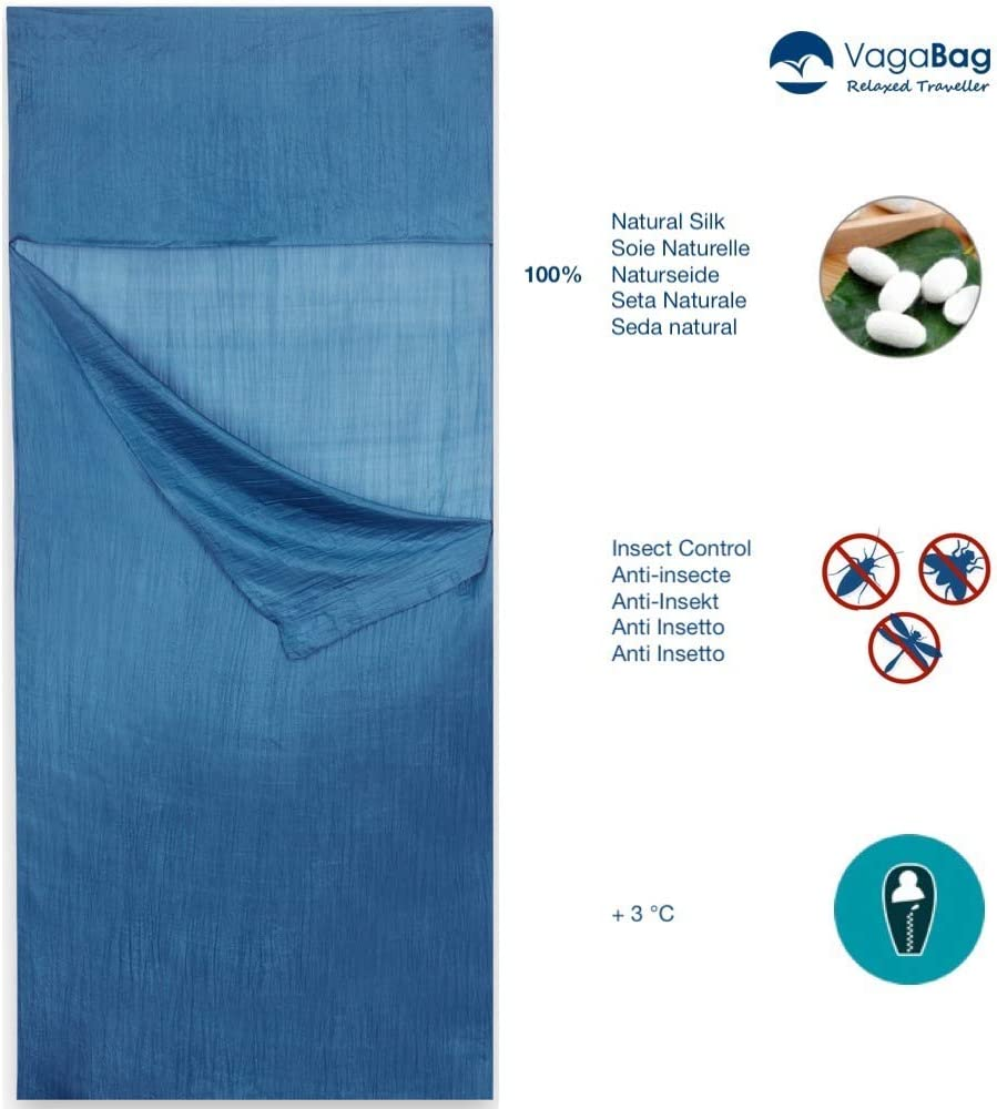 Anti Bugs Compact and Ultra lightweight Vagabag Silk Sleeping Bag Liner 100/% Natural Silk Travel Sheet Anti Mosquito