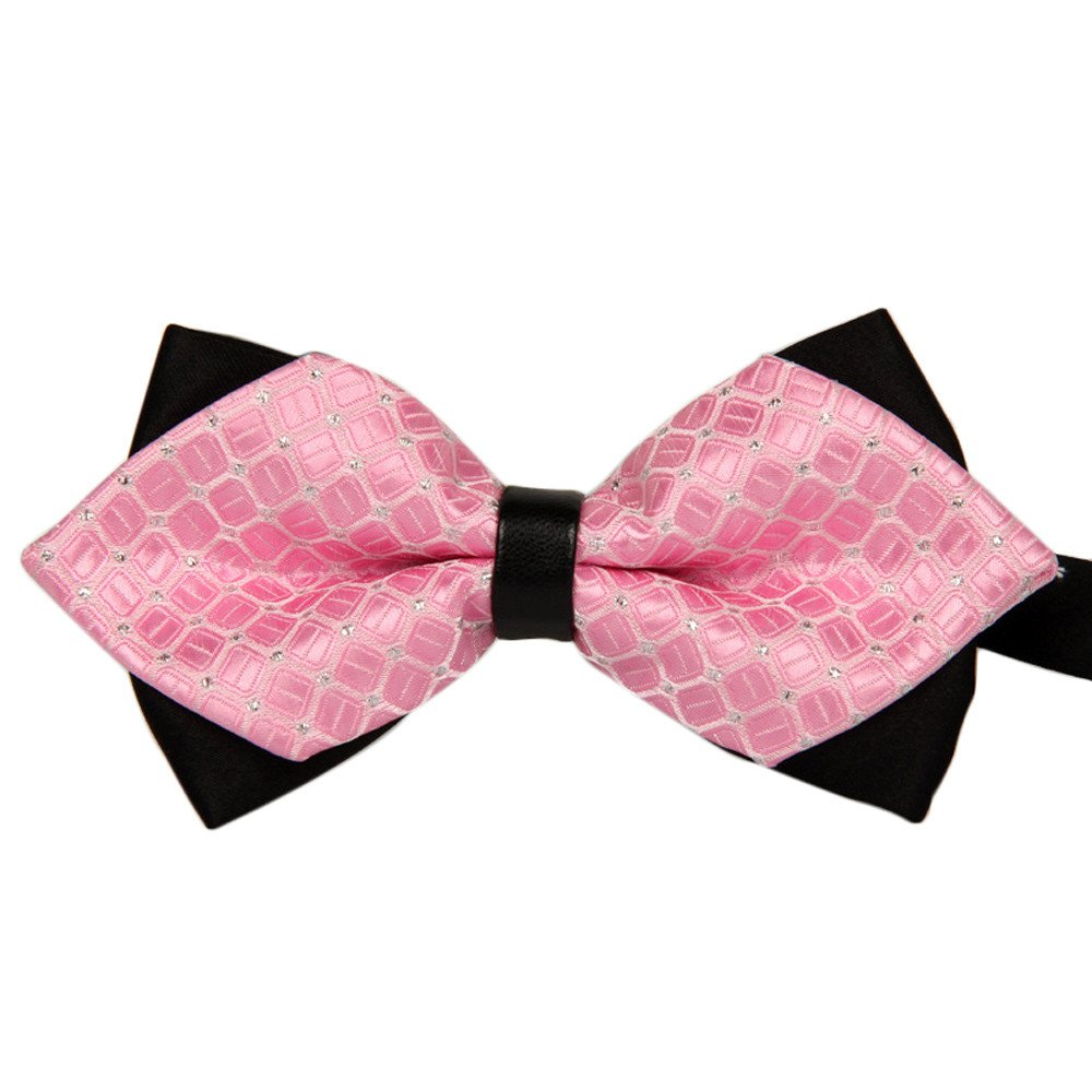 Fashion Bowtie Bow Ties Accessories Tie Classic Pre-Tied Bow Tie Formal Solid Suits Tuxedo for Adults (Pink)