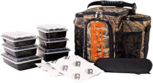 Meal Prep Bag ISOBAG 3 Meal Insulated Lunch Bag Cooler with 6 Stackable Meal Prep Containers, 2 ISOBRICKS, and Shoulder Strap - MADE IN USA (Mossy Oak Blades)