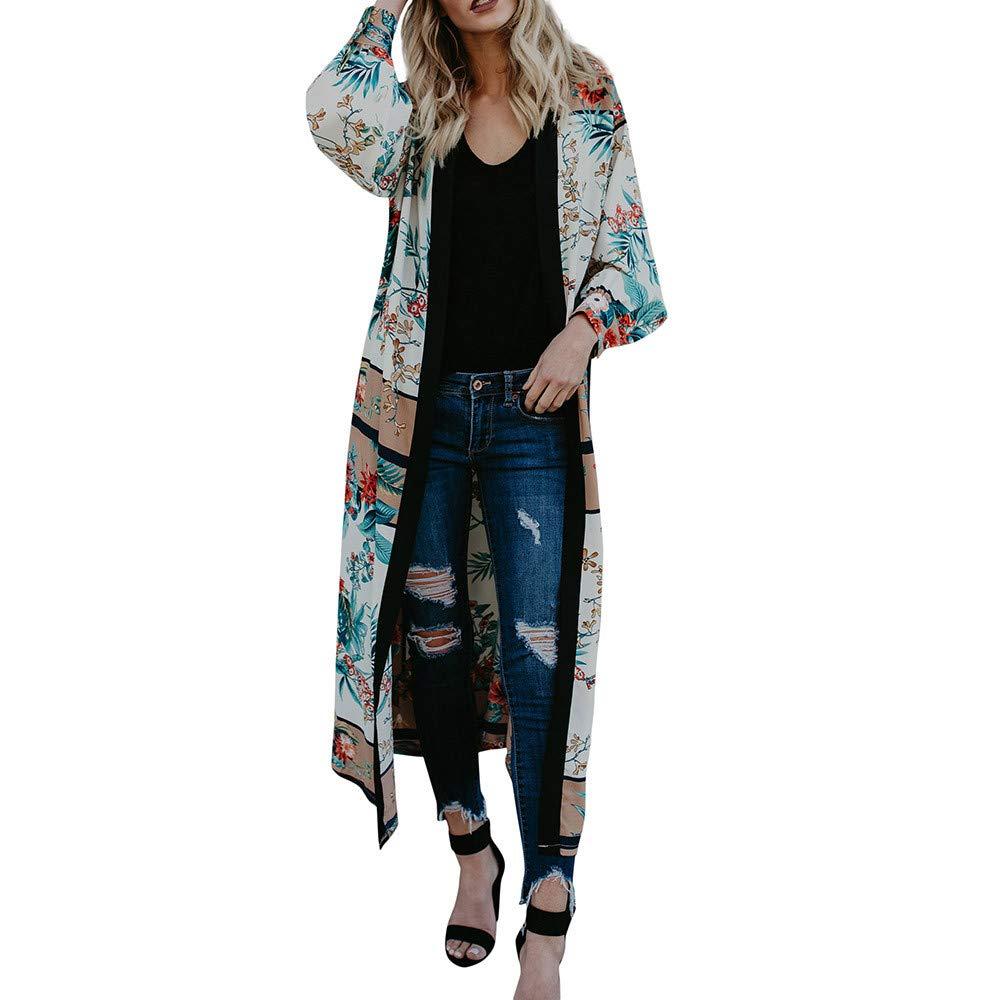 FeiBeauty Frauen-lange Hü lsen-Druck-ethnische Wind-Kimono-Windbreaker-Jacke damen Mode-reizvolle Verband-Strickjacke-Strand-Abdeckungs-Jacke