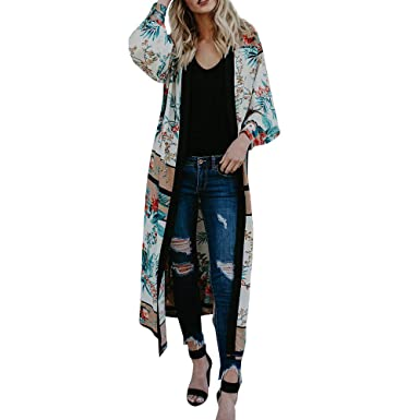 RISTHY Chaqueta Playa Mujer Kimono Cárdigan Blusa con ...