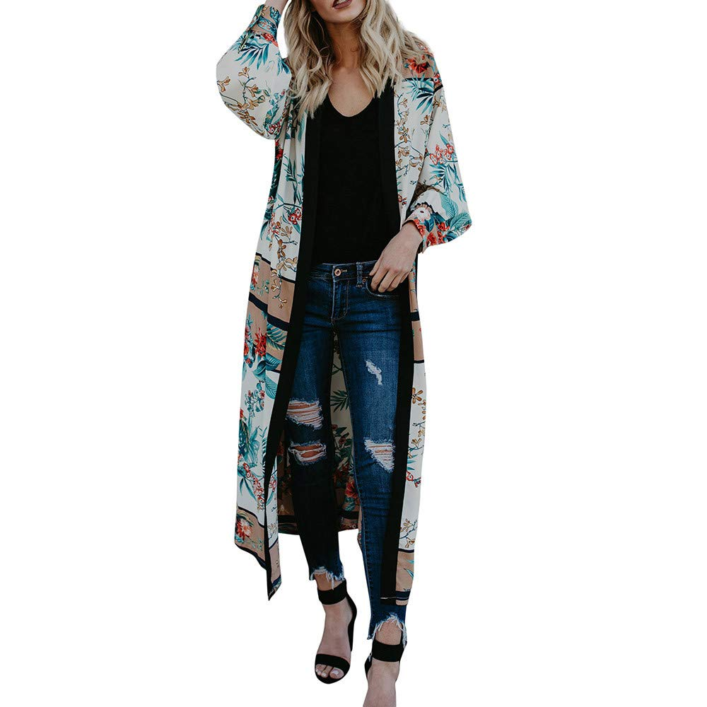 Womens Belt Bandage Shawl Print Kimono Cardigan Top Cover Up Blouse Beachwear