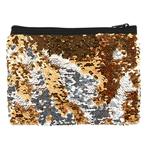 Gold and Silver Sequin School Supplies Pencil Pouch (Sequin Supplies)