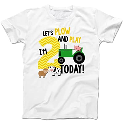 Second Birthday Shirt - Lets Plow and Play Farm Theme Boy's Second Birthday -white