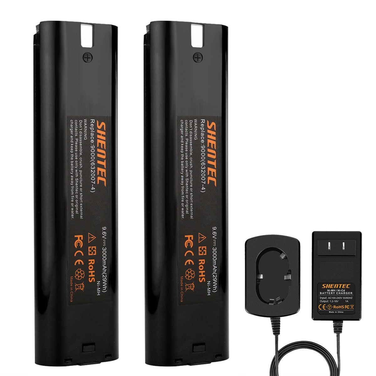 Shentec 2 Pack Ni-MH 3.0Ah 9.6V Battery Compatible with Makita 9.6V 9000 9001 9002 9033 9600 193890-9 192696-2 632007-4 (Battery Charger Include)