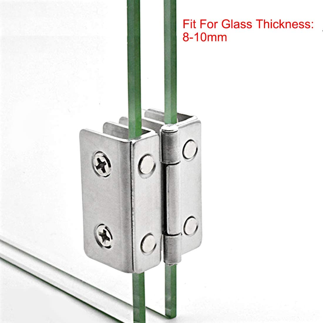 for 8-10mm Glass Thickness 2Pcs uxcell Glass Hinge Cabinet Door Cupboard Showcase Hinge Glass Clamp,Stainless Steel