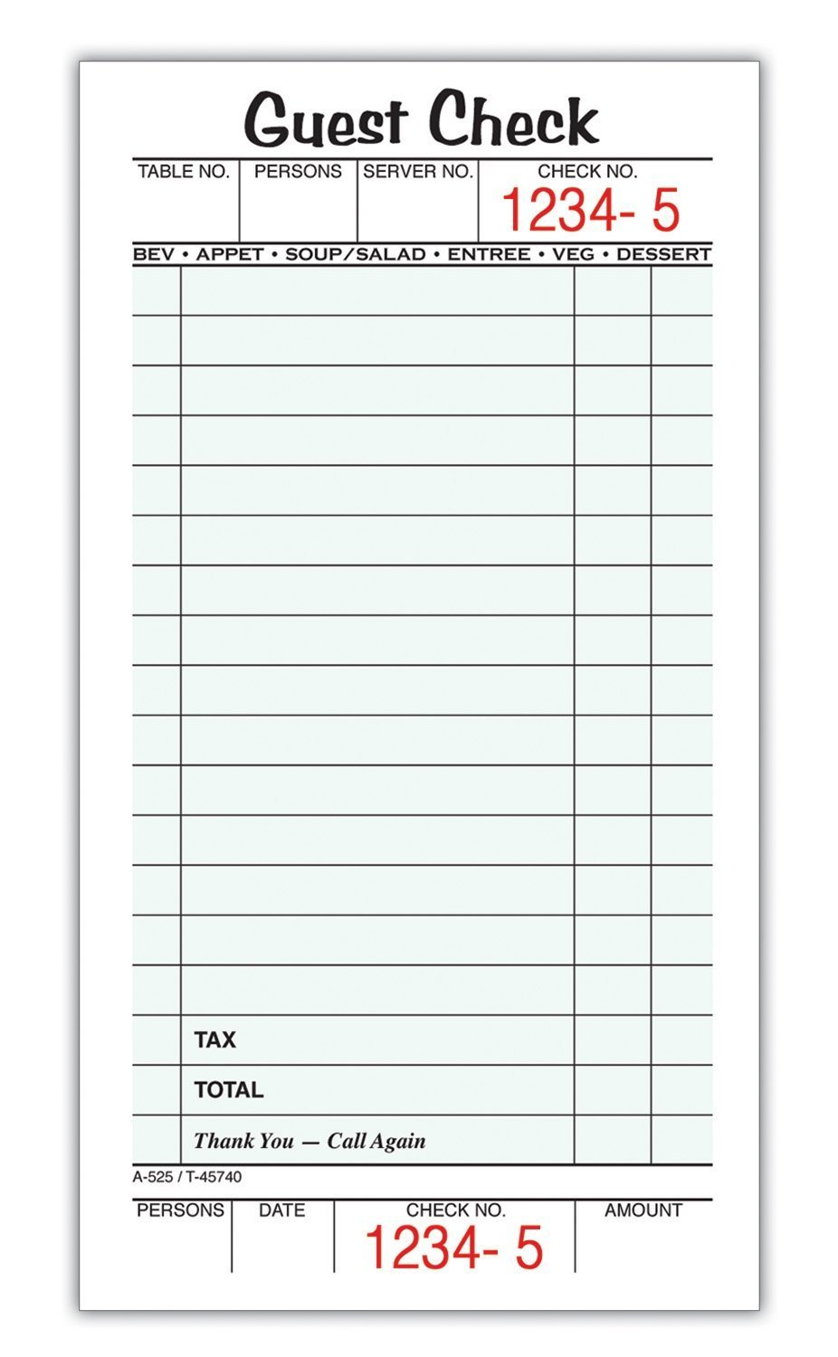 Adams Guest Check Pads, Single Part, 3.4 x 6.75 Inches, White, 50 Checks per Pad, 10 Pads per Pack (525SW) TOPS Business Forms Inc.