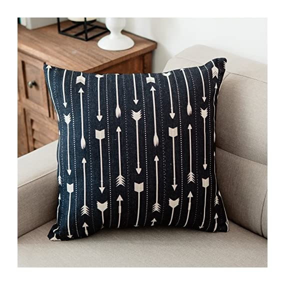 YeeJu Set of 4 Geometric Decorative Throw Pillow Covers Square Cotton Linen Cushion Covers Outdoor Sofa Home Pillow Covers 18x18 Inch - ELEVATE YOUR ROOM DECOR! Let these attractive geometric throw pillow covers add a freshness, dynamic, fashionable and cozy feel to your life atmosphere. Definitely these amazing 18X18 Inches throw pillow covers will be your Home Highlights! YOUR COMFORT IS OUR TOP NOTCH! With fantastic moisture absorption and wet dissipation, our 100% natural cotton linen is the perfect fabric for cushion cover or sofa throw pillow cases. As the premium comfort eco-friendly material, it offering the most restful relaxation, breathable cool touch in summer and warm touch in winter. DETAILS HIGHLIGHT THE QUALITY! Soft, breathable, textured made with color matching, invisible zipper, allows easy insertion and removal of pillow inserts. All fabric edges are sewn with overlock stitch to prevent fray and ensure the cushion case holds shape over time.Printed with healthy and environment friendly water-based ink, unfading, no stimulation to skin. - living-room-soft-furnishings, living-room, decorative-pillows - 61eb wJQXVL. SS570  -