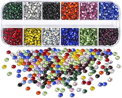 12 Mixed Colors, 3 mm 2400 Pieces Hot Fix Glass Flatback Rhinestones HotFix Round Crystal Gems 3 MM in Storage Box with Tweezers and Picking Rhinestones Pen