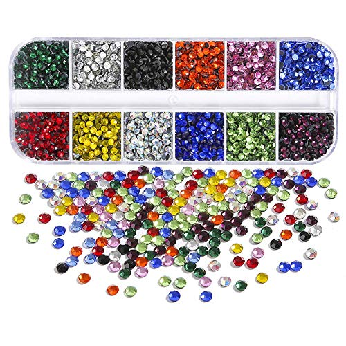 Dorhui 7200pcs 3 mm (ss10) Hotfix Crystals Flatback Rhinestones for Clothes Shoes Crafts Hot Fix Round Glass Gems Stones Flat Back Iron on Rhinestones for Clothing (12 Colors)
