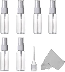 ALINK 60ml /2 oz. Spray Bottles, Empty Plastic Clear Small Travel Bottles With Fine Mist Sprayer for Cleaning Solutions and Essential Oils, Pack of 6 Plus Cleaning Cloth and Dropper