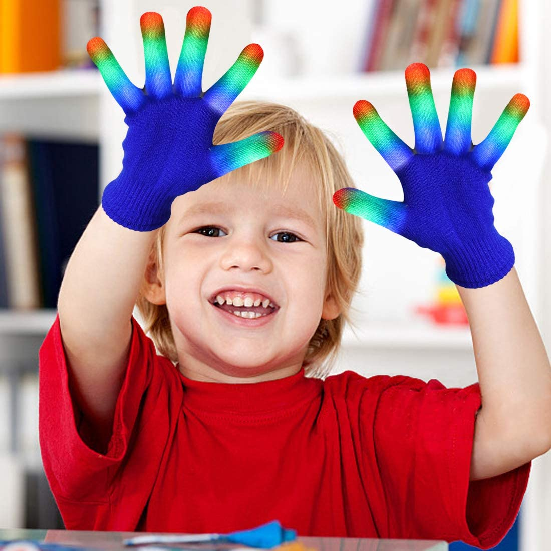 Green and Red Black, Small Flashing Light Up Kids Size Small Black Gloves LED Finger Light Gloves Cool Fun Toys 6 Modes Super Bright LEDs Blue