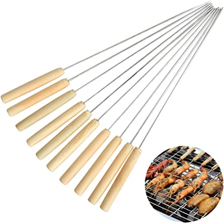 Stainless Steel BBQ Skewers Grill Flat Shish Kebab Sticks Grilling Set of 10 New