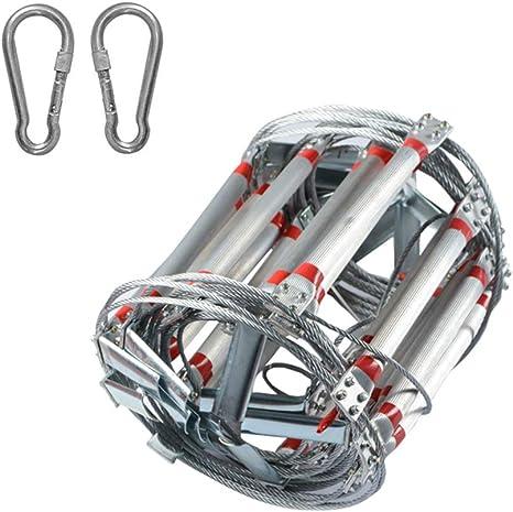 SSCYHT Escalera de Emergencia contra Incendios Escalera Resistente al Fuego de aleación de Aluminio Resistente al Fuego con 2 mosquetones, Capacidad de Peso de hasta 500 kg: Amazon.es: Deportes y aire libre