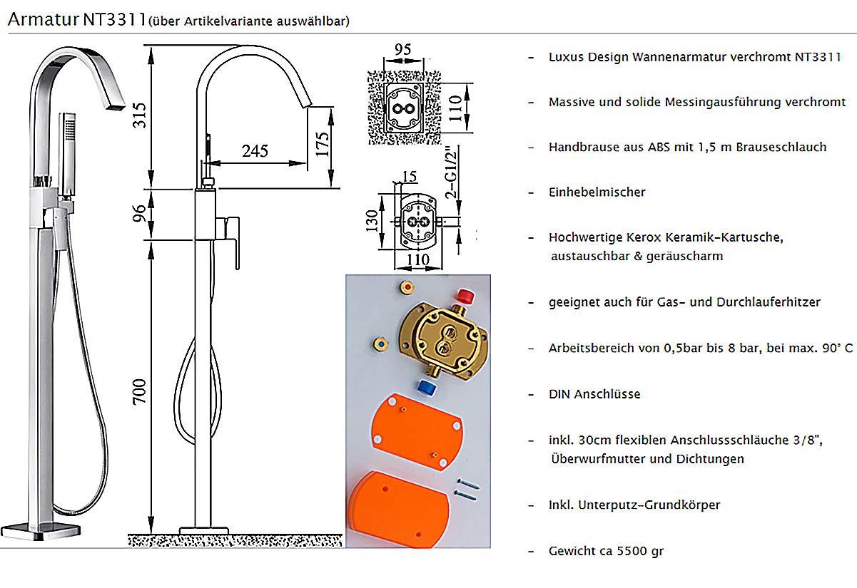 186 x 88 x 60 cm Vasca da bagno freestanding TERRA in acrilico sanitario bianco opaco Sistema drenaggio:Senza sistema di drennaggio Rubinetti a scelta:Senza rubinetteria rubinetteria opzionale