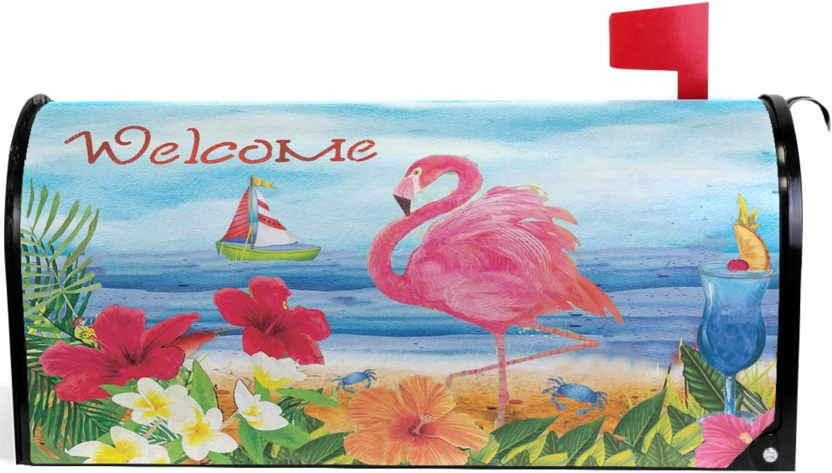 """Wamika Summer Beach Flamingo Palm Poppy Mailbox Cover Magnetic Standard Size Tropical Flowers Butterfly Letter Post Box Cover Wrap Decoration Welcome Home Garden Outdoor 21"""" Lx 18"""" W"""