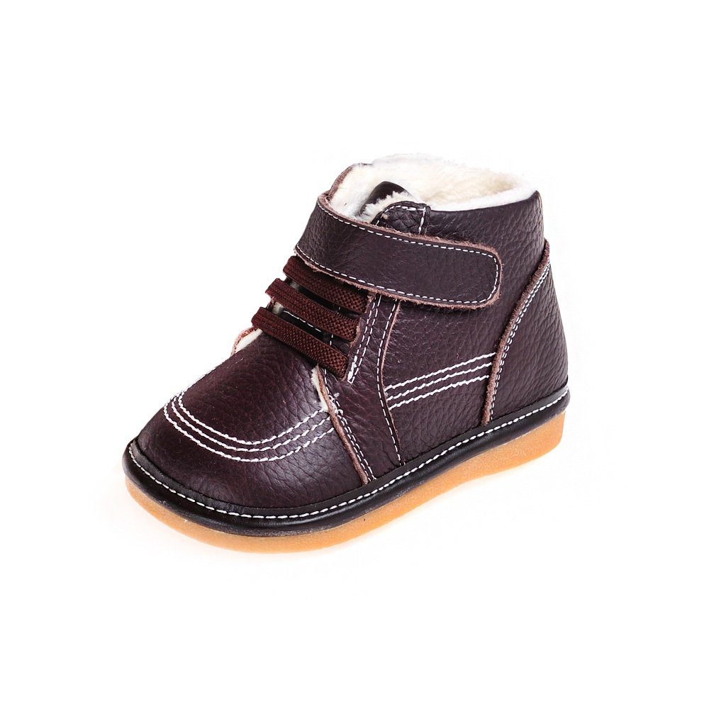 HLT Toddler/Little Kid Boy Comfy Fur Lining Decorative Shoe Lace Dark Brown Squeaky Low Boot [US 10 / EU 26]