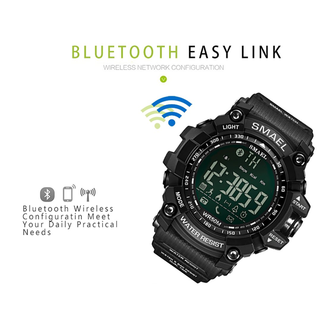Amazon.com: SMAEL Military Wrist Watch Casual Smart Watches Time Digital Watches LED Sport Watch with Backlight (Black Strap with Yellow face): Watches