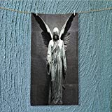 absorbent towel Sculpture of an Angel with Dark Background Catholic Belief Century Dimgrey Soft Cotton Durable w13.8 x H27.5 INCH