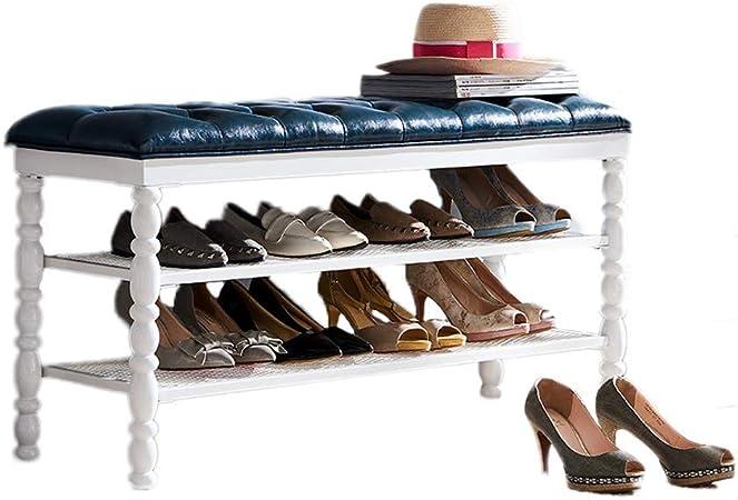 Banc de rangement en fer Porte chaussures 2 niveaux Hall d