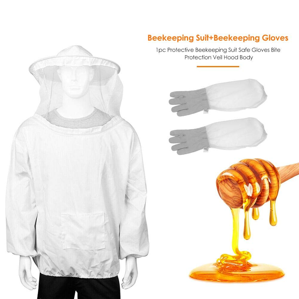 1pc Protective Beekeeping Suit Safe Gloves Bite Protection Veil Hood Body