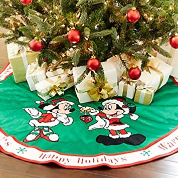 48u0027u0027 Diameter Reversible Santa Mickey And Minnie Mouse Polyester Tree Skirt