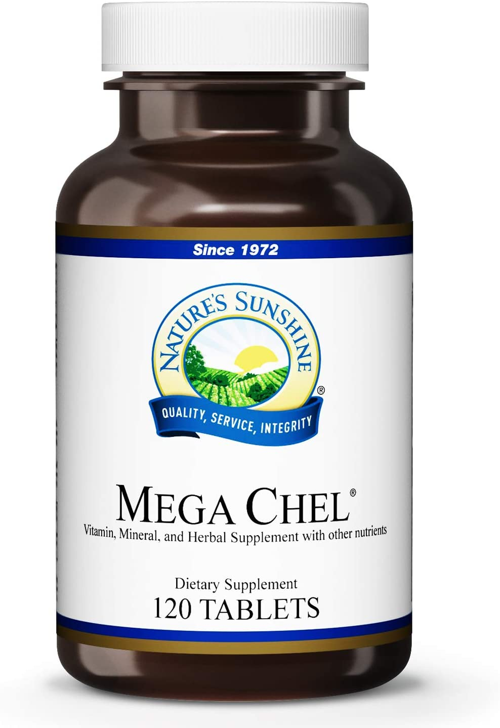 Nature's Sunshine Mega-Chel, 120 Tablets   Complete Vitamin with Powerful Antioxidants, Herbs, Vitamins, Minerals, and Amino Acids That Support The Circulatory System