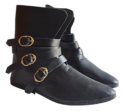 35b2214c72 Amazon.com : Medieval Shoes 3 Brass Buckle Shoes Renaissance Boot ...
