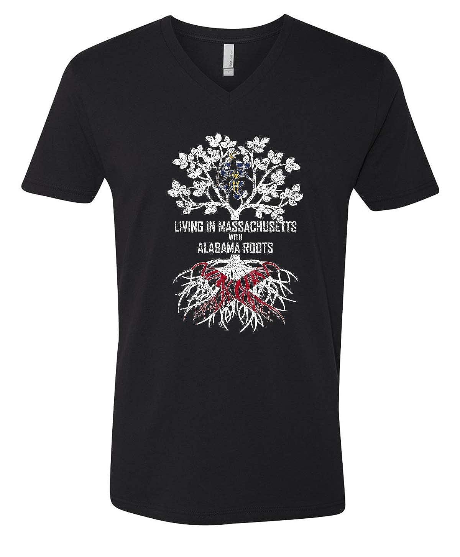 Tenacitee Mens Living in Massachusetts Alabama Roots T-Shirt