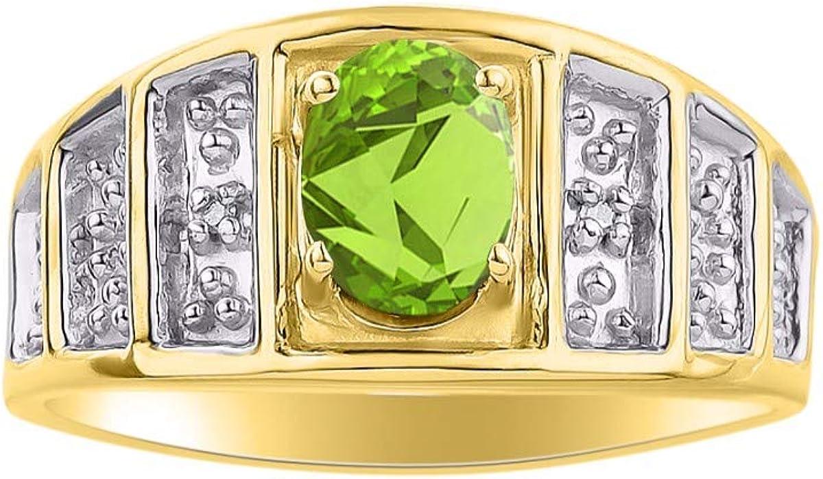 August Birthstone RYLOS Simply Elegant Beautiful Peridot /& Diamond Ring