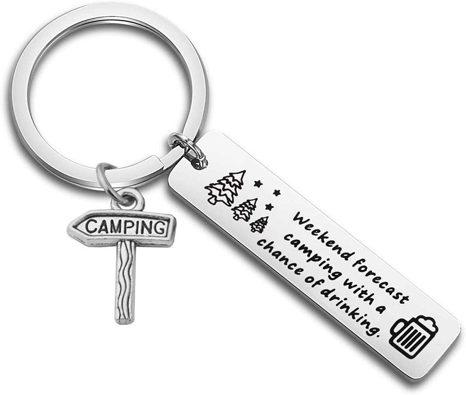 KUIYAI Weekend Forecast Camping with a Chance of Drinking Keychain Camper Key Ring