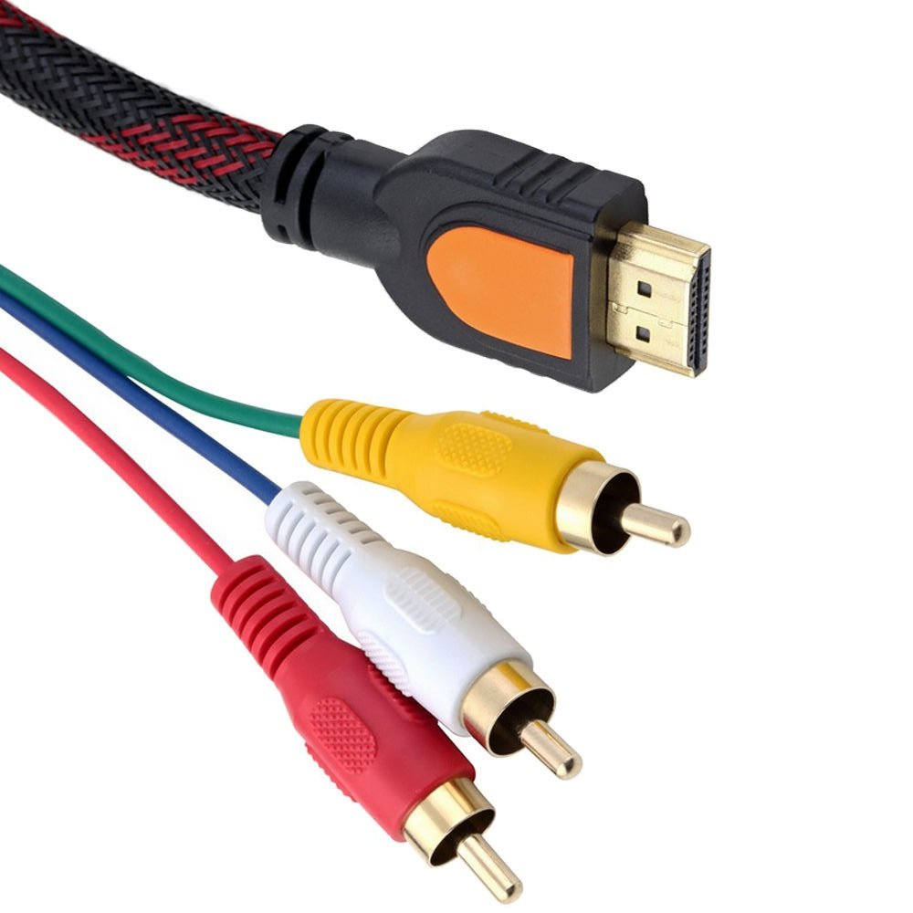 Fivetech HDMI Male to 3RCA Male Extension Cable Bi-directional: Converts to HDTV DVD Composite S-video RCA Plugs