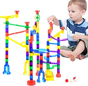 Lekebaby Marble Run, 180 Piece Marble Maze Race Track for Kids, DIY STEM Building Toys for Boys Girls Aged 3,4,5,6,8 and Up (84 Translucent Plastic Pieces + 48 Plastic Marbles)
