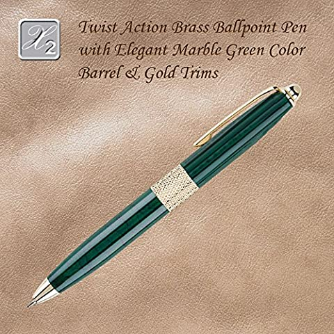 Twist Action Ballpoint Pen With Marble Design And Diamond Accent, Green - Brass Ballpoint Twist Action Pen