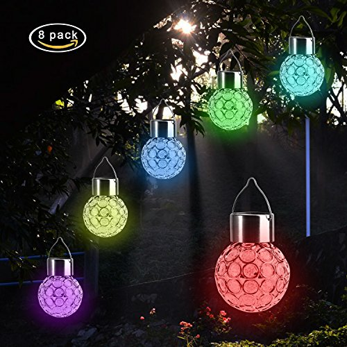 Garden LED Solar Hanging Lights Outdoor (8 Pack), Outdoor Hanging Decorative Globe Light Auto Color Changing LED Ball Lantern Landscape Lighting for Garden Patio Yard Window Decor (8 Light Outdoor Hanging Lantern)