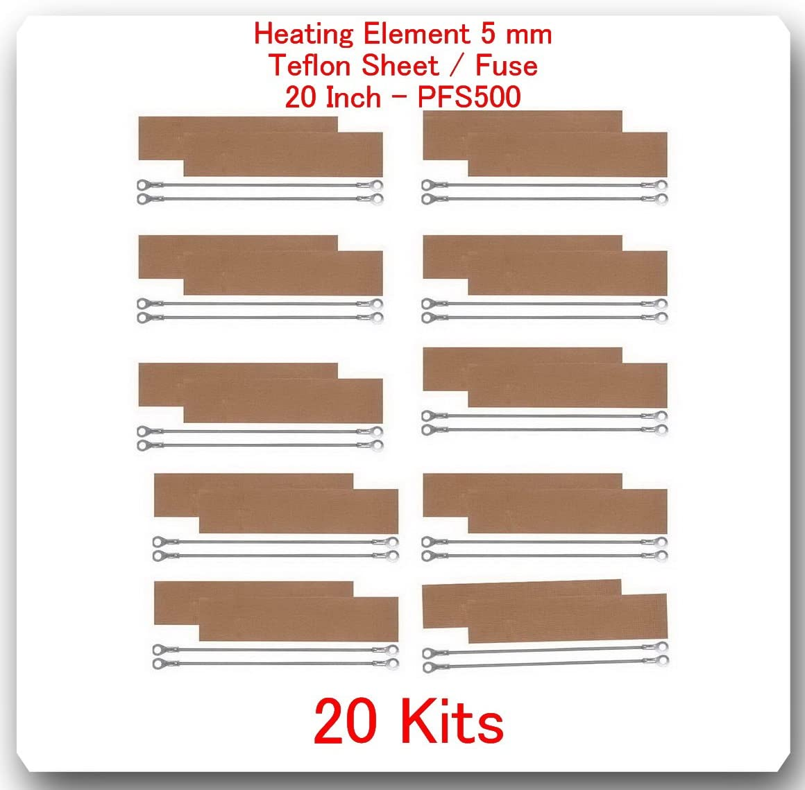 (20 Kits)(REPLACEMENT ELEMENTS FOR IMPULSE SEALER PFS-500 = 20