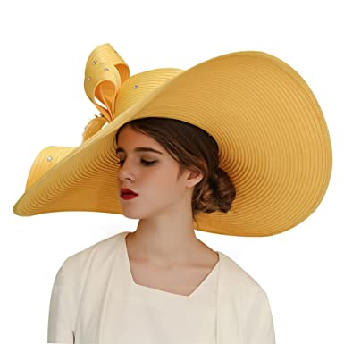 ccc1b6a8c8894 KUEENI Women Wedding Hat Church Hats Mother of The Bride Hats Yellow (Gold)