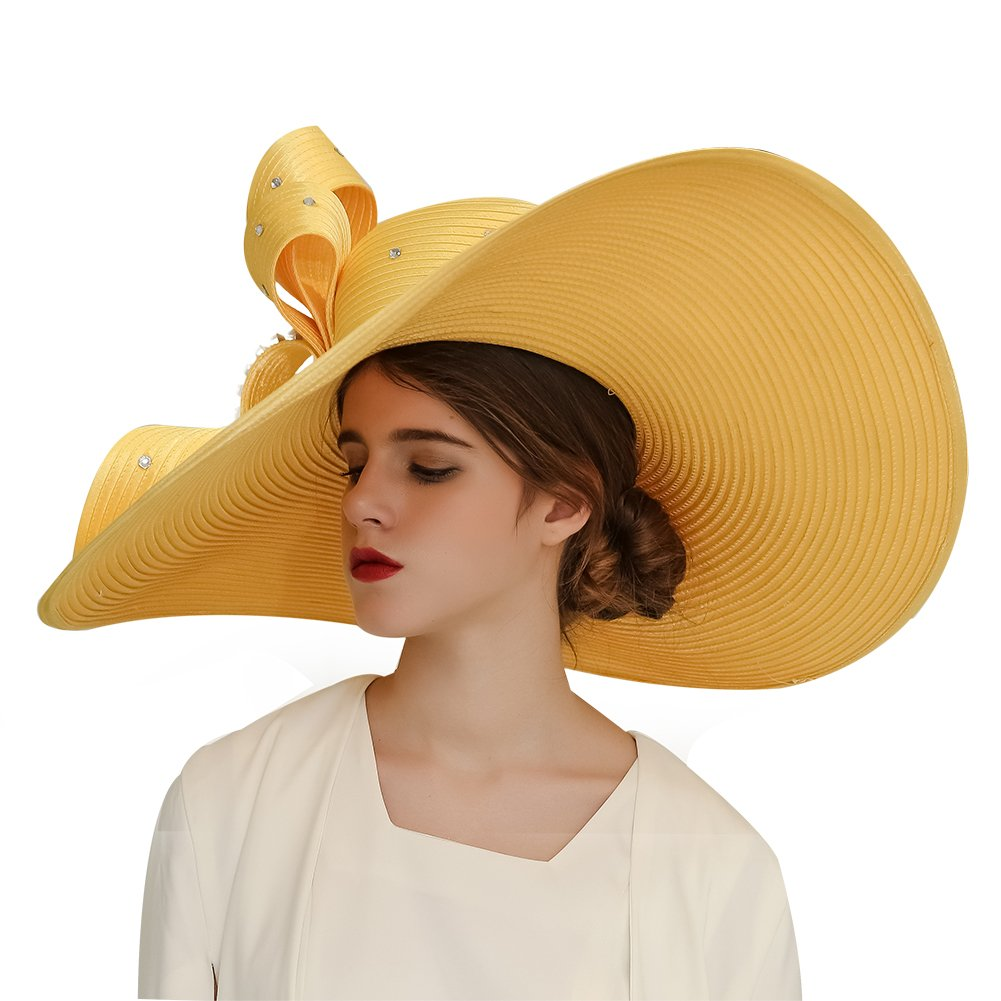 Kueeni Women Wedding Hat Church Hats Mother of The Bride Hats Yellow (Gold)