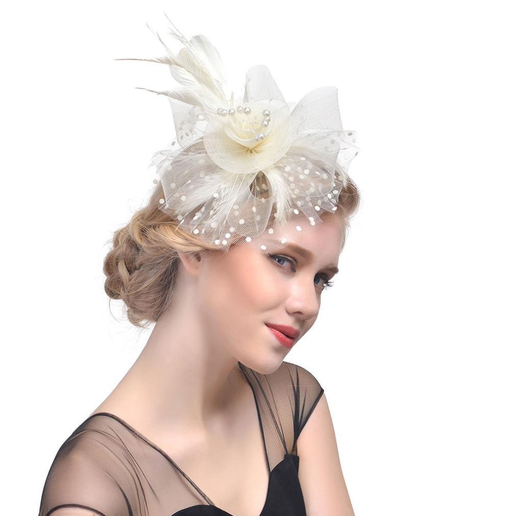 6b611a9f25f02 Xshuai Women Hat, Fashion Women Elegant Flower Mesh Ribbons Feathers  Headband Caps Bride Headwear for Wedding Cocktail Tea Party (Khaki)