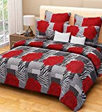 Home Candy 144 TC 100% Cotton Red Roses Double Bed Sheet with 2 Pillow Covers