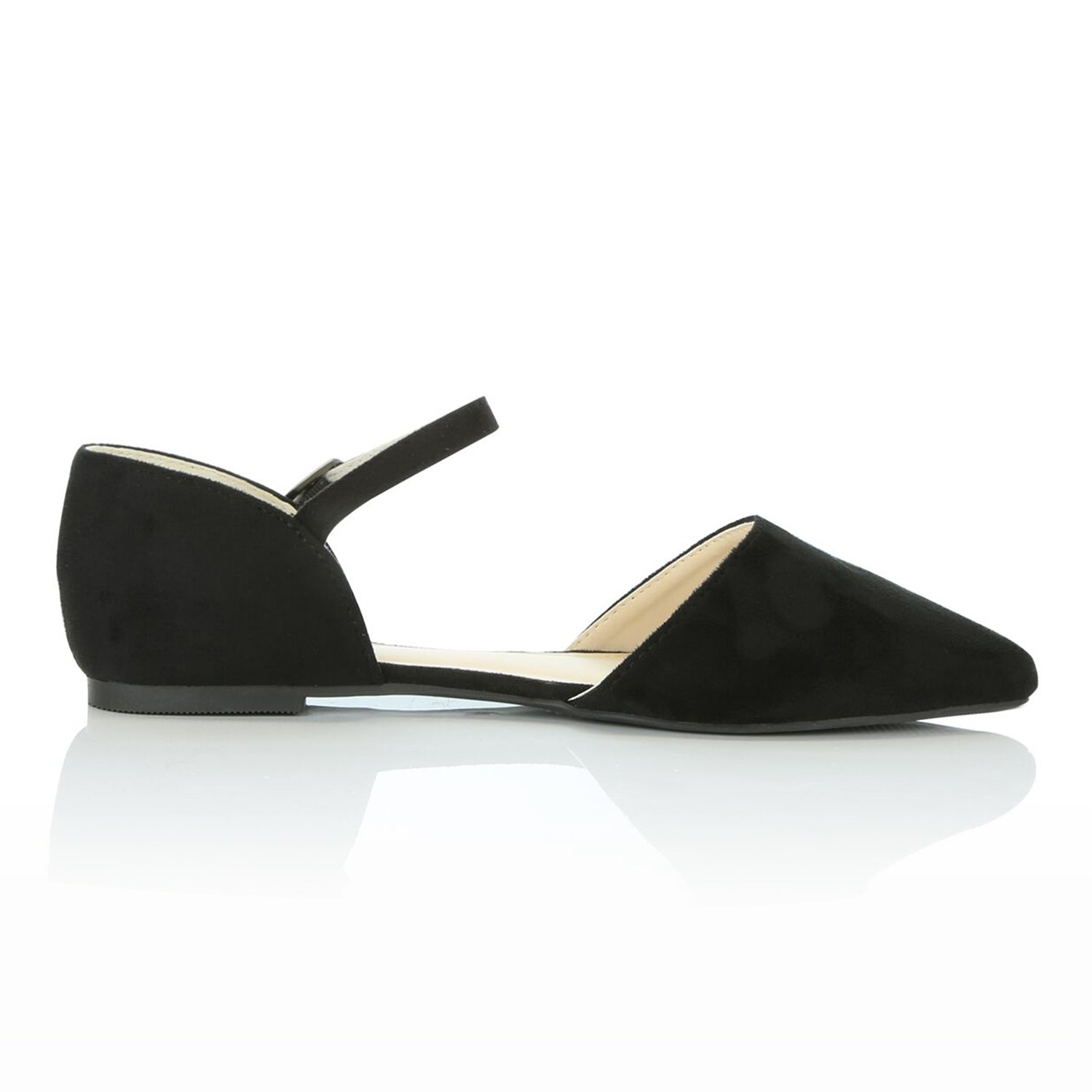DailyShoes Women's Pointy Toe Flats D'Orsay Buckle Ankle Strap Casual Comfort Ballerina Ballet Flat Shoes, Black Suede, 9 B(M) US by DailyShoes (Image #7)