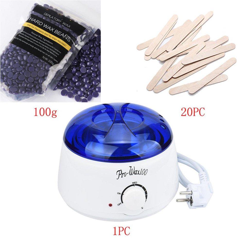 Barbarer Machine à cire de fusion Épilation Cire chaude Pot de chauffe chauffante + Cire d'épilation + Essuyage bâtons réglés (C)