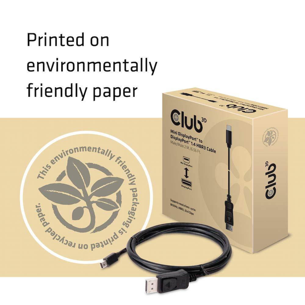 Club3D CAC-1115 DisplayPort to Mini DisplayPort 1.4/HBR3 Cable Male/Male 2m/6.56', Black Vesa Certified by CLUB3D (Image #7)