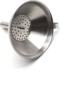 Antrader 4-Inch Stainless Steel Kitchen Funnel, Food Grade Metal Funnel with Detachable Strainer Filter for Transmission of Liquid, Fluid, Dry Ingredients and Powder
