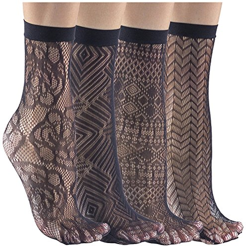Womens Semi-Sheer Fishnet Ankle Socks, Nylon Sexy Socks, Thin Socks (Assorted F (4 Pack))