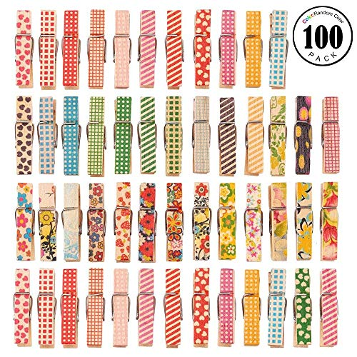 Clothes Pins, 100 Pieces Colored Painted Mini Wood Clothespins for Pictures Paper Peg Pin Craft Clips Scrapbooking Crafts Gift Wrapping